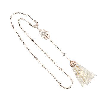 Tassel and Hamsa Necklace Rosegold Freshwater Pearl