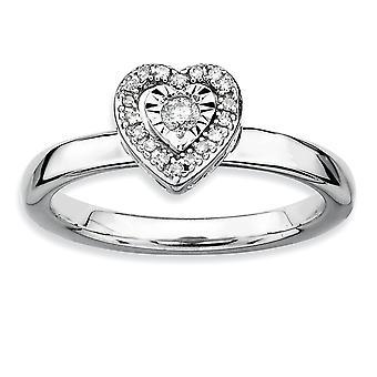 Sterlingsølv poleret Prong indstille Rhodium-belagt stabelbare udtryk hjerte diamantring - ringstørrelse: 5-10