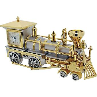 Gift Time Products Locomotive Train Miniature Clock - Gold/Silver