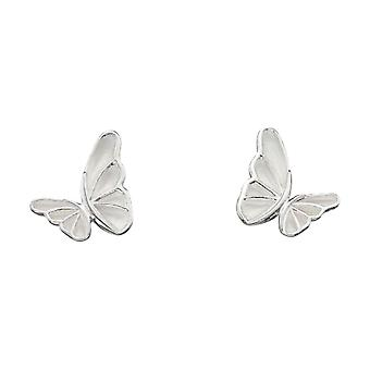 Elements Silver Statement Butterfly Stud Earrings - Silver/White