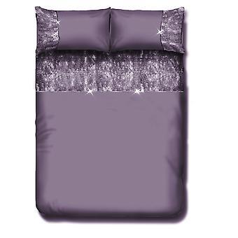 Valentina Velvet Panel Diamante Lace Fancy Duvet Quit Cover Bedding Set