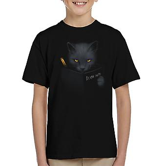 Cat Writing In Death Note Kid's T-Shirt