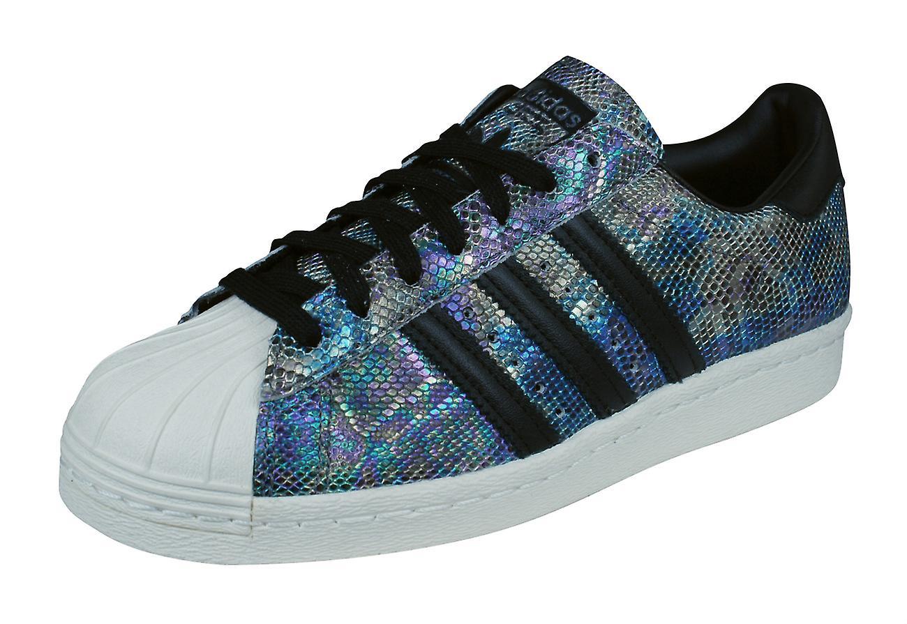 adidas Originals Superstar 80s Mens Leather Trainers / Shoes - Black Snakeskin