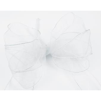 Large Three Loop White Organza Christmas Wreath or Tree Bow with Tails