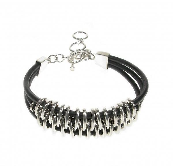 Cavendish French Sterling Silver and Leather Tribal Bracelet