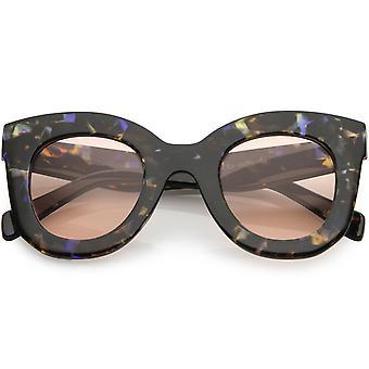 Kvinners Oversize tykk Cat Eye solbriller rundt objektivet 46mm