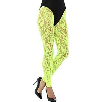 80's Lace Leggings, Neon Green