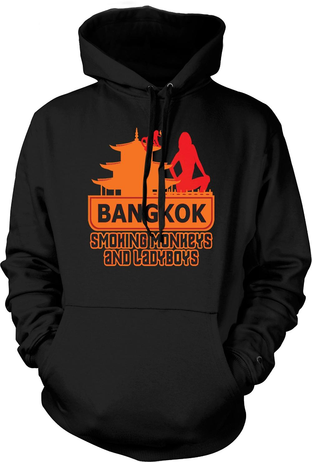 Mens Hoodie - Bangkok - Smoking Monkeys And Ladyboys - Quote