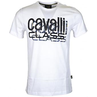 Cavalli Class Jersey Cotton Logo Stretch White T-shirt