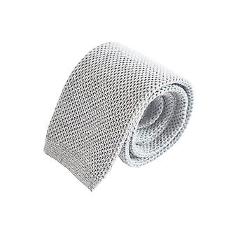 Compact weave plain knitted tie – grey