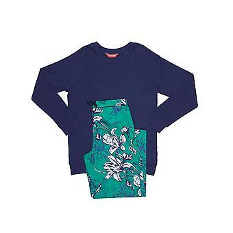 Minijammies 5359 少女ロージー エメラルド グリーン花柄プリント パジャマ セット