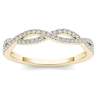 IGI Certified 10k YELLOW Gold 0.15 Ct Diamond Criss-Cross Fashion Anniversary Ring