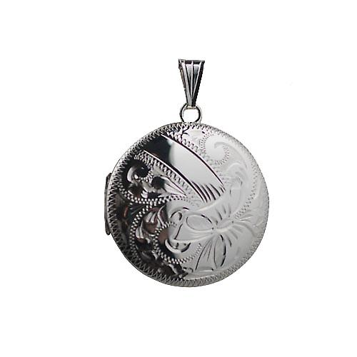 Silver 29mm hand engraved round Locket