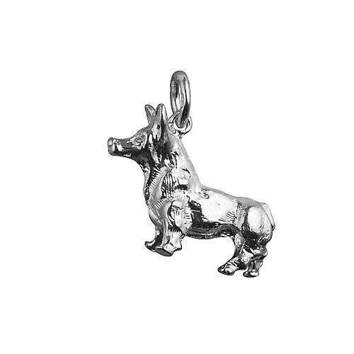 Silver 20x22mm solid Corgi Dog charm