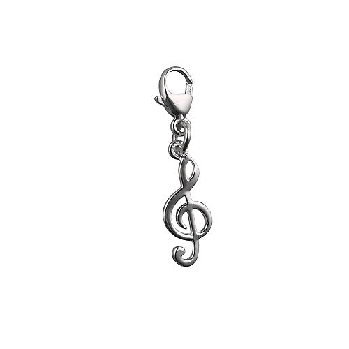 Silver 14x6mm G Cleff Charm on a lobster trigger
