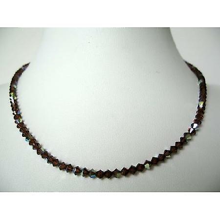 Swarovski AB Coated Smoked Topaz Crystals String Round Necklace