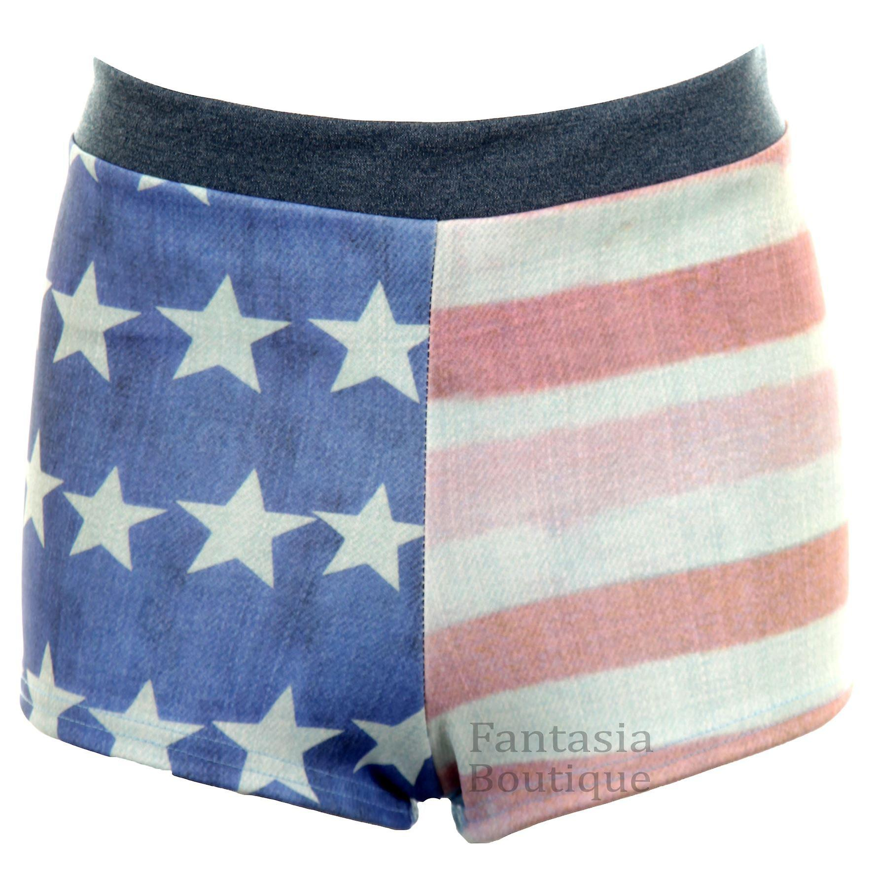 Ladies Denim Effect Faded USA Flag Print Hot Pants Women's Stretch Shorts