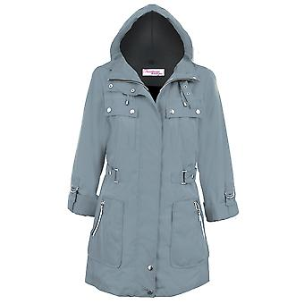 Ladies Turn Up Long Sleeve Detachable Hood Shower Proof Women's Coat Jacket