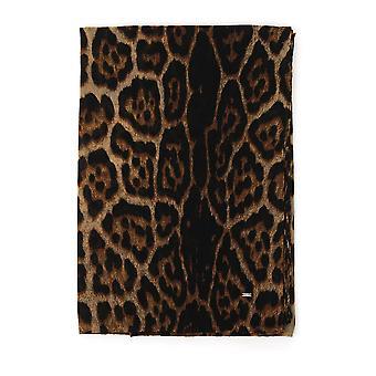 Saint Laurent Leopard Wool Scarf
