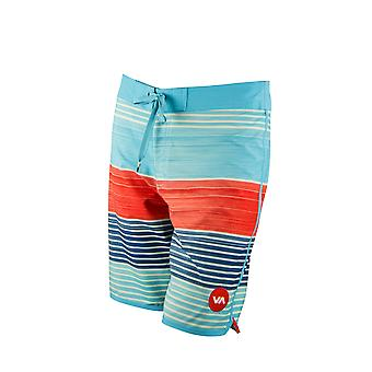 RVCA Mens VA Sport domenica Stripe tronco Boardshorts - Sky/Navy/Red
