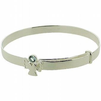 Jo For Girls Sterling Silver December Blue Simulated Birthstone Angel Bangle