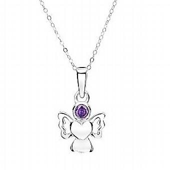 Jo For Girls Sterling Silver February Birthstone Angel Amethyst Color Pendant