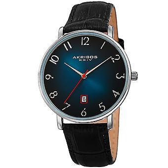 Akribos XXV AK1077TQ Men's Quartz Slim Leather Strap Watch