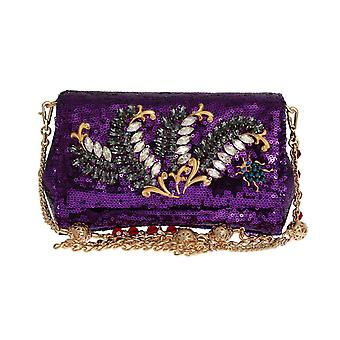 Purple sequined crystal clutch bag