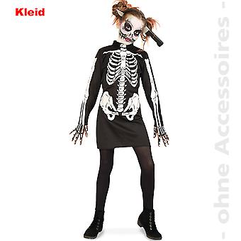 Zombie costume, child skeleton costume ribbed dress of undead Halloween child costume