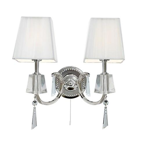 Searchlight 6882-2CC Portico 2 Light Chrome And Glass Wall With White String Shade