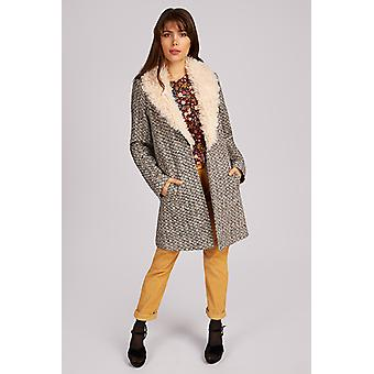 Louche Alameda Fur Collar Coat Cream