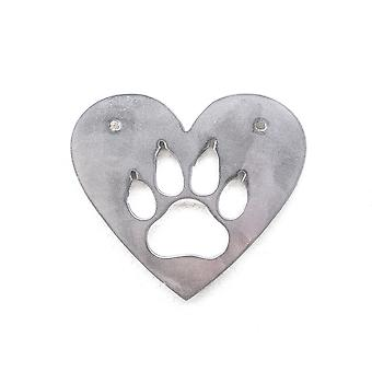 Heart- dog paw - metal cut ornaments 4x4in