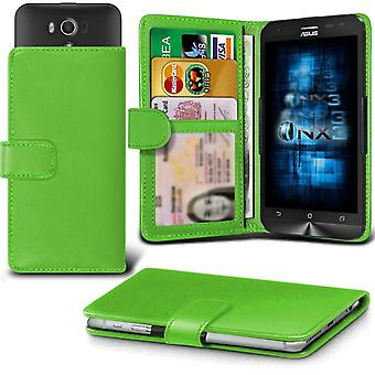 ONX3 Asus PadFone mini (Intel) Leather Universal Spring Clamp Wallet Case With Card Slot Holder and Banknotes Pocket-Green