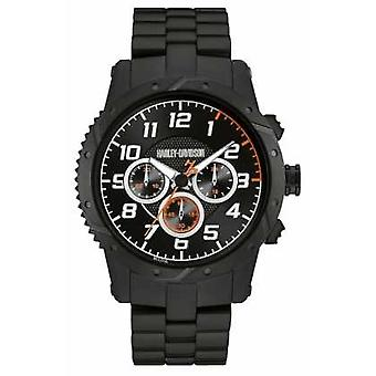 Harley Davidson Mens Black Strap Black Case Chronograph 78B138 Watch