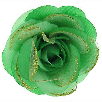 Green Lace Fabric Corsage Rose Flower Brooch / Hair Clip / Pony Tail