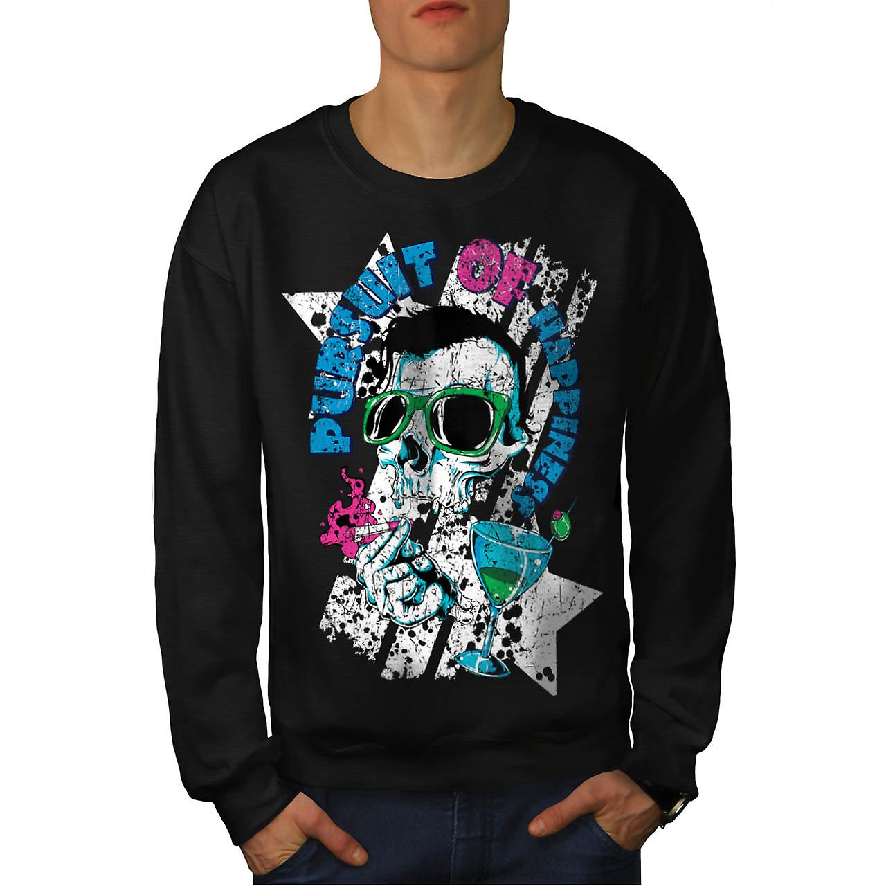 Pursuit Happiness Skull Men Black Sweatshirt | Wellcoda