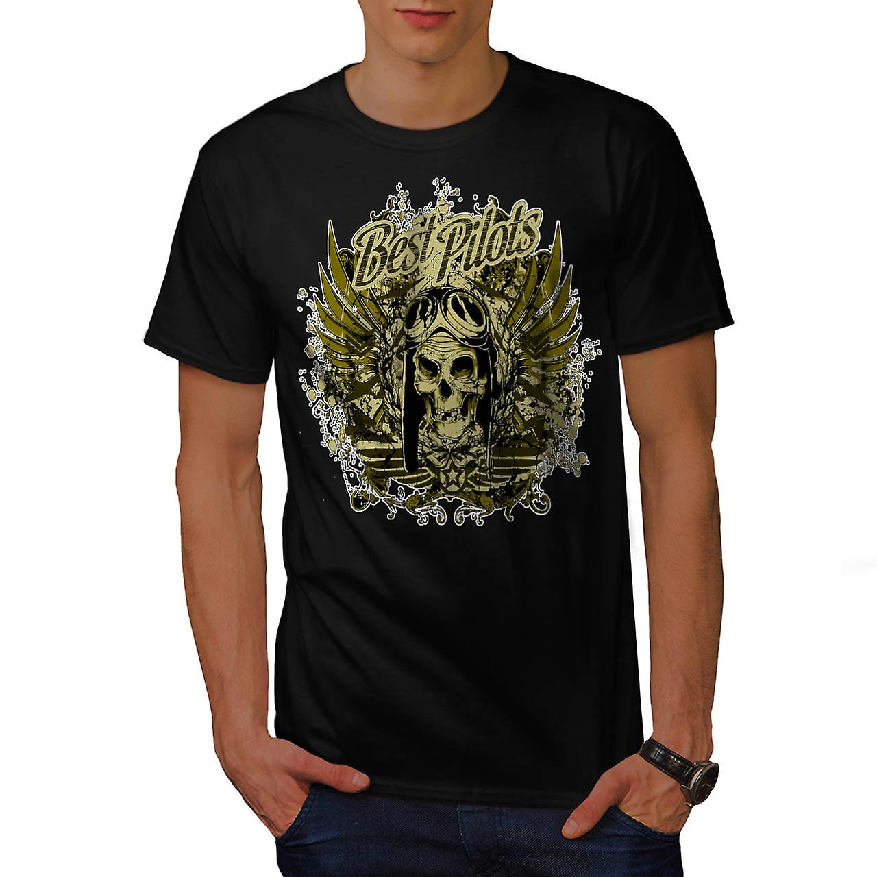 Best Pilot Fly Plane Flight Hell Men Black T-shirt | Wellcoda