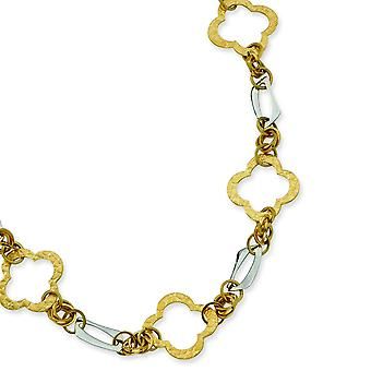 Stainless Steel Gold IP Plated Fancy Link With Extender Necklace - 21 Inch