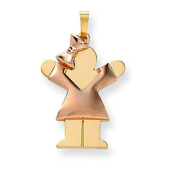 14k Two-Tone Gold Puffed Girl with Bow on Left Engraveable Charm - 2.5 Grams