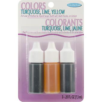 Colors .75oz 3/Pkg-Yellow, Turquoise & Lime 530-16