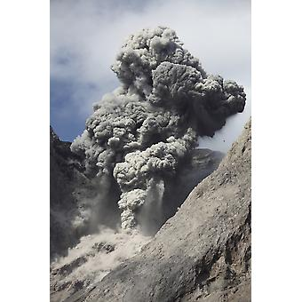 November 28 2012 - Dense grey ash cloud from powerful explosive strombolian eruption rising from active crater of Batu Tara volcano Komba Island Indonesia Poster Print