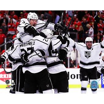 The Los Angeles Kings celebrate defeating the Chicago Blackhawks 5 to 4 in overtime of Game Seven to win the Western Conference Final of the 2014 Stanley Cup Playoffs at United Center on June 1 2014 P