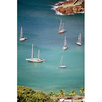 Yachts Anchor in British Harbor Antigua Caribbean Poster Print by Alexander Nesbitt