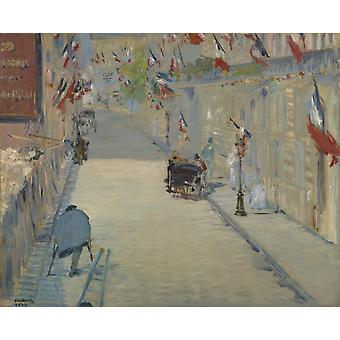 The Rue Mosnier With Flag Poster Print
