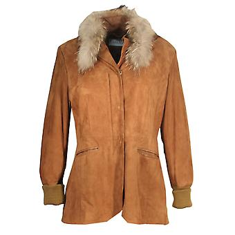 Keshlana - suede leather coats for women Goatsuede cognac raccoon sealskin leather