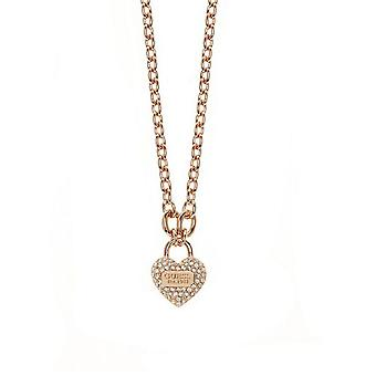 Guess ladies chain necklace heart cubic zirconia stainless steel Rosé gold UBN21582