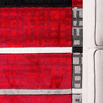 Red & Grey Contemporary Patchwork Runner Rug - Rio
