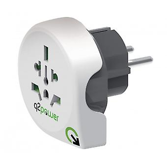 Q2 Power Travel Adapter World-to-Europe Grounded
