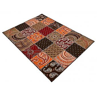 Design velour carpet patchwork look terra / brown / red 101091