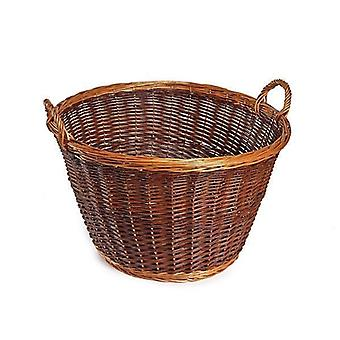 Large Unpeeled Wicker Log Basket